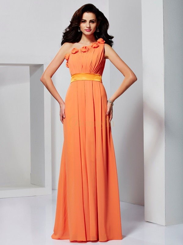 Orange Chiffon One-Shoulder-Träger A-Linie/Princess-Linie Bodenlang Formale Kleider