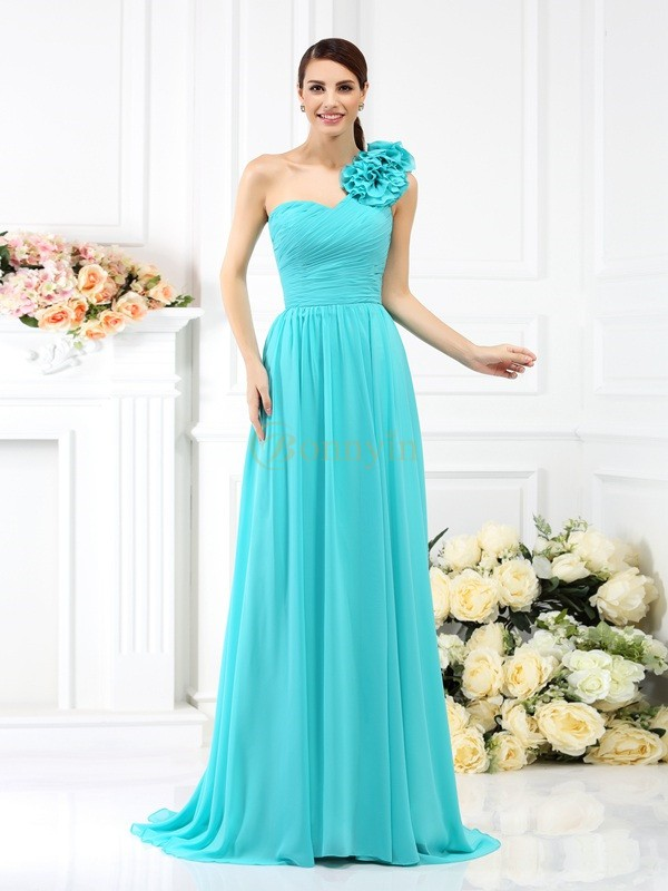 Blau Chiffon One-Shoulder-Träger A-Linie/Princess-Linie Sweep/Pinsel zug Brautjungfernkleider