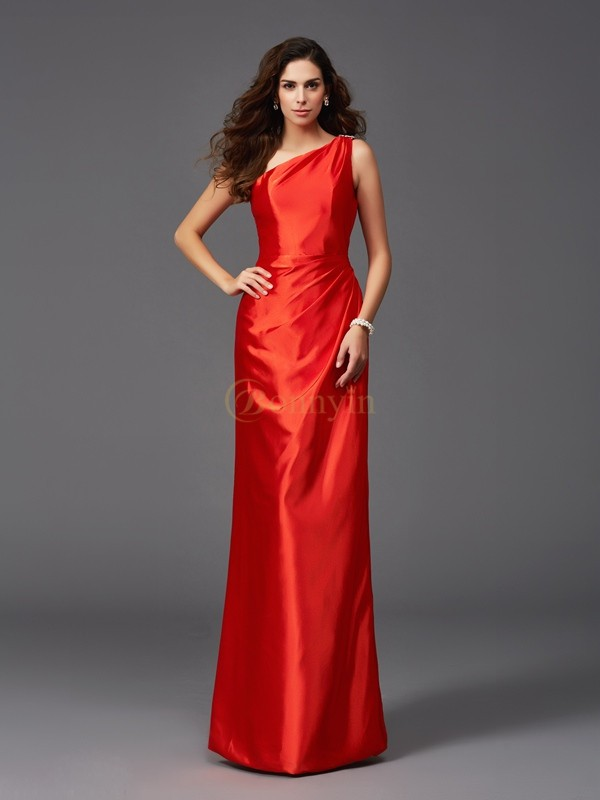 Rot Stretch-Satin One-Shoulder-Träger Etui-Linie Bodenlang Brautjungfernkleider