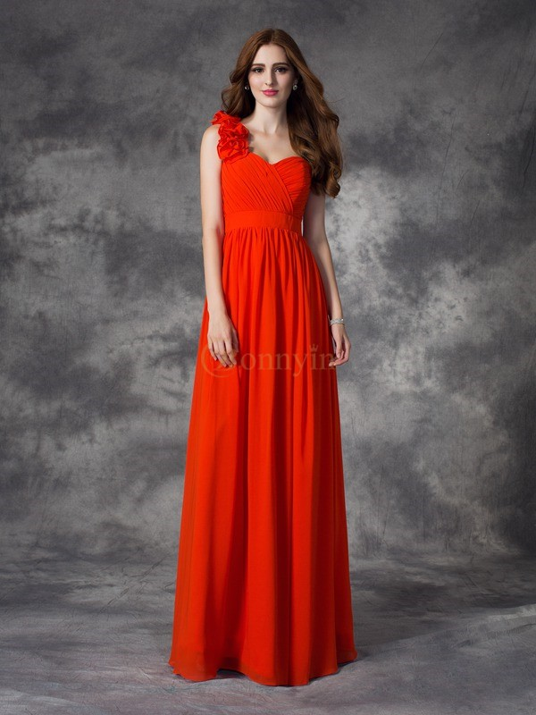 Rot Chiffon One-Shoulder-Träger A-line/Princess Floor-length Brautjungfernkleider