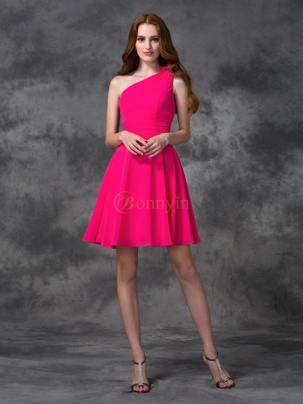 Fuchsia Chiffon One-Shoulder-Träger A-line/Princess Kurz/Mini Cocktailkleider