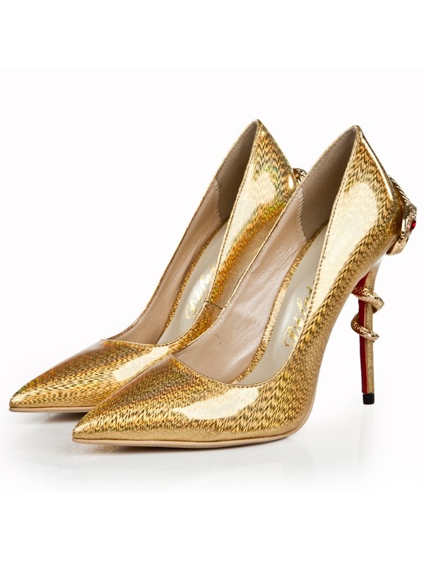 Bonnyin Gold Lackleder Spitz High Heels
