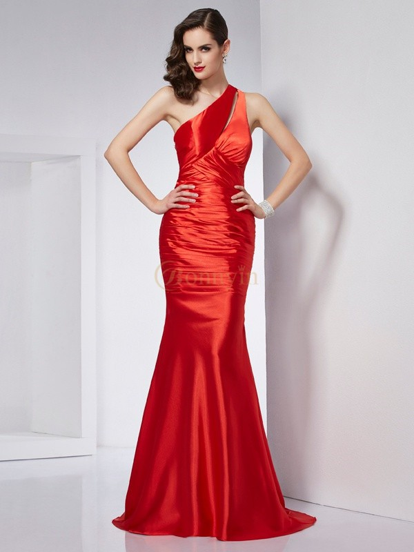 Rot Stretch-Satin One-Shoulder-Träger Etui-Linie Sweep/Pinsel zug Kleider