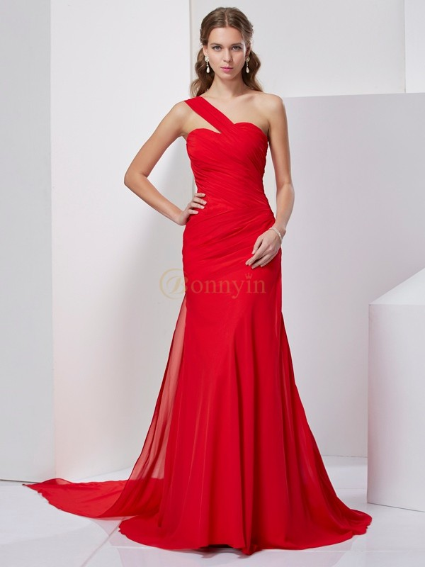 Rot Chiffon One-Shoulder-Träger A-Linie/Princess-Linie Sweep/Pinsel zug Kleider