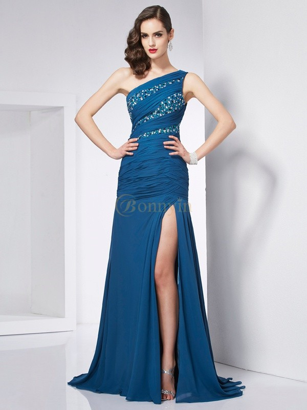 Chiffon One-Shoulder-Träger A-Linie/Princess-Linie Sweep/Pinsel zug Kleider
