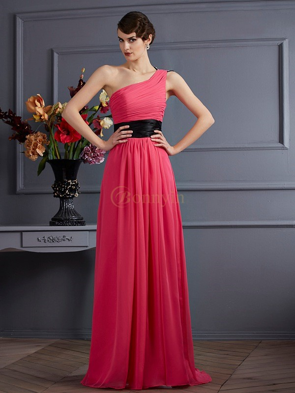 Fuchsia Chiffon One-Shoulder-Träger A-Linie/Princess-Linie Sweep/Pinsel zug Kleider